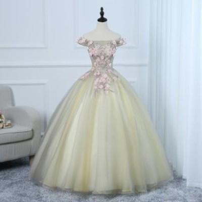 パーティードレス ウェディングドレス 発表会 演奏会用ドレス プリンセスライン 二次会・花嫁衣裳にも♪