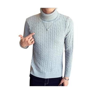 [ベンケ] セーター メンズ タートルネック 無地 カジュアル 長袖 ニット ケーブル編み M2XL