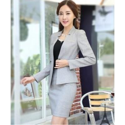 2点セット スカートスーツ  通勤 リクルート 就活 ビジネススーツ  大きいサイズ ブラック グレー