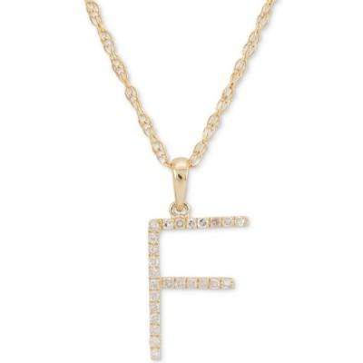 """メイシーズ Macy's レディース ネックレス ジュエリー・アクセサリー Diamond (1/10 ct. t.w.) Initial Pendant Necklace in 10k Gold, 16"""" + 2"""" extender"""
