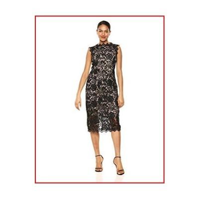 【新品】Dress the Population Women's Claudette Lace Sheath Midi Dress, Black/Nude, XXL【並行輸入品】