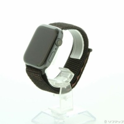 (中古)Apple Apple Watch Series 4 GPS 44mm スペースグレイアルミニウムケース ブラックスポーツループ(252-ud)