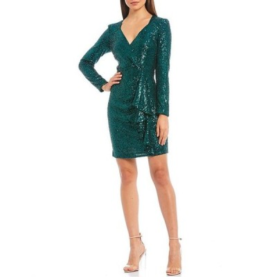ベルバッジリーミシュカ レディース ワンピース トップス Lizabeth Allover Sequin Wrap Sheath Dress
