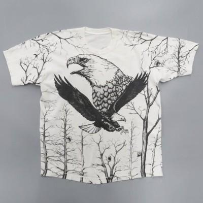 ワシ プリントTシャツ アニマル 総柄 裾袖シングル サイズ表記:--