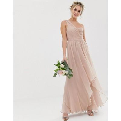 エイソス ASOS DESIGN レディース ワンピース ワンピース・ドレス Bridesmaid soft layer maxi dress with one shoulder pleated bodice Soft blush