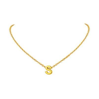FindChic イニシャルネックレスS レディース ペンダントトップ 18金 18k ゴールド 真鍮 小さめ 鏡面 シンプル  タイプB・ゴールド