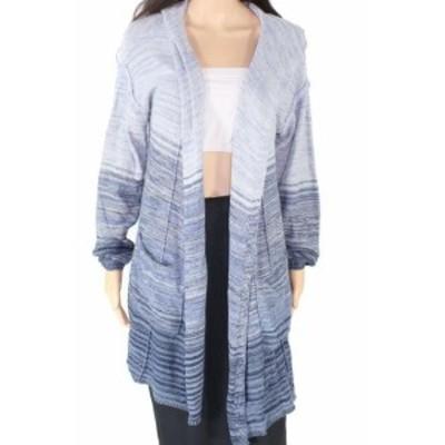 ファッション トップス Style & Co Womens Blue Size Medium M Striped Hooded Cardigan Sweater