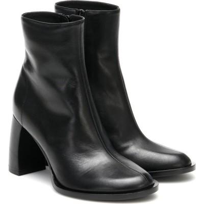 アンドゥムルメステール Ann Demeulemeester レディース ブーツ ショートブーツ シューズ・靴 banana-heel leather ankle boots Black