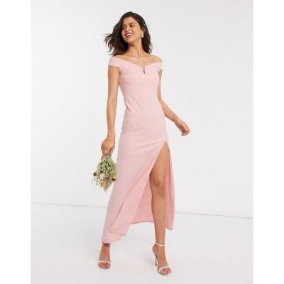 ティーエフエヌシー ミディドレス レディース TFNC Bridesmaid bardot maxi dress in pink  エイソス ASOS sale ピンク