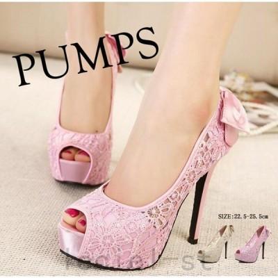 パンプスピンヒール12.5cmヒールオープントゥバックリボンキャバハイヒール/ピンヒールレディース靴大きいサイズあり行事式