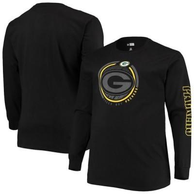 ファナティクス ブランデッド メンズ Tシャツ トップス Green Bay Packers Fanatics Branded Big & Tall Color Pop Long Sleeve T-Shirt Black
