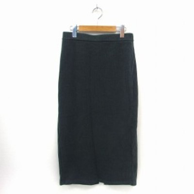【中古】ジーユー GU スカート ロング ニット リブ ウエストゴム シンプル XL グリーン /ST51 レディース