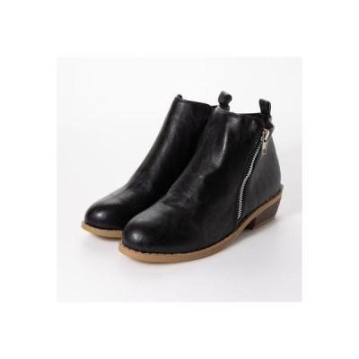 スタイルブロック STYLEBLOCK PUレザーローヒールショートブーツ (ブラック)