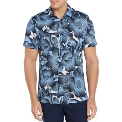 ペリーエリス メンズ シャツ トップス Tropical Floral Stretch Short-Sleeve Woven Shirt