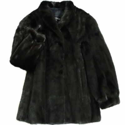 極美品▼Rambulton(ONWARD) SAGA MINK ランブルトン(オンワード) サガミンク 本毛皮コート ブラック 毛質艶やか・柔らか◎