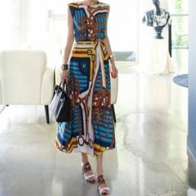 スカーフ柄の上品なセットアップ ツーピース ブラウス ボートネック ノースリーブ ウエストリボン ロングスカート フレアスカート