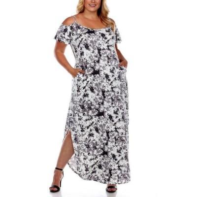 ホワイトマーク ワンピース トップス レディース Plus Size Cold Shoulder Tie-Dye Maxi Dress Black