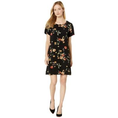 ボボウ Bobeau レディース ワンピース シフトドレス ワンピース・ドレス Crepe Shift Dress Black/Orange Floral