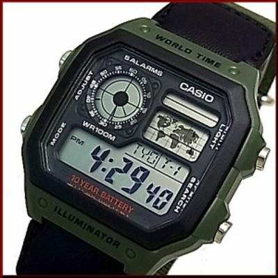 CASIO【カシオ/スタンダード】デジタル 世界地図表示ワールドタイム メンズ腕時計 モスグリーンナイロンベルト 海外モデル AE-1200WHB-3B