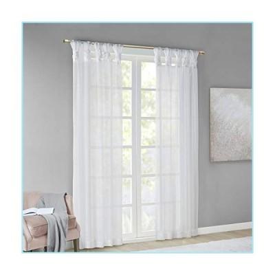 """新品Madison Park DIY Twisted Tab Sheer Window Curtain Panel Pair Voile Privacy Drape for Bedroom, Livingroom, 50"""" x 84"""", White 2 Count"""
