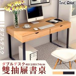 【Incare】雙抽屜鋼製書桌辦公桌(48x100x74cm)-多色可選