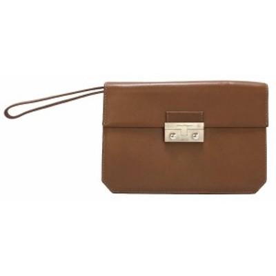 美品 フェラガモ セカンドバッグ 型押し レザー ブラウン 茶色 本革 FERRAGAMO メンズ リスレット ハンドストラップ ビジネスバッグ
