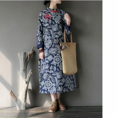 レディース リネン ワンピース 半袖 ロング丈 花柄 民族風 ゆったり 体型カバー カジュアル