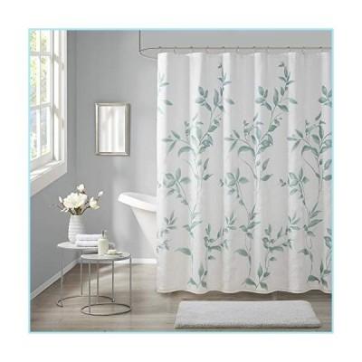 """新品Madison Park Cecily Bathroom Shower, Printed Botanical Design Modern Privacy Bath Fabric Curtains, 72""""x72"""", Seafoam"""