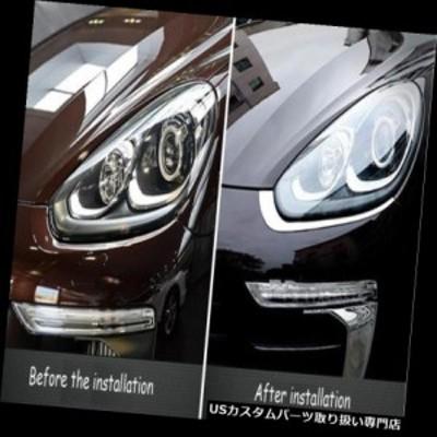 ヘッドライトカバー ポルシェカイエン2015-17用メタルカーフロントヘッドライトアイブロウカバートリム  For Porsc