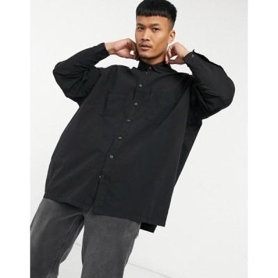 エイソス メンズ シャツ トップス ASOS DESIGN oversized boxy shirt in washed black Washed black