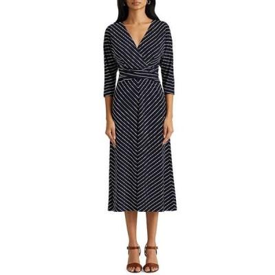 ラルフローレン レディース ワンピース トップス 3/4 Sleeve Stripe Print Matte Jersey Midi Dress