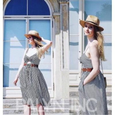 ファッション ドレス Rare_NWT ZARA SS18 BLACK/WHITE STRIPED DRESS WITH KNOT LINEN 4387/029_XS S M L