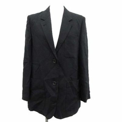 【中古】マーガレットハウエル MARGARET HOWELL 19年製 ジャケット テーラード シングル リネン 2 黒 ブラック