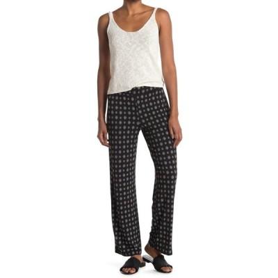 ヴィンスカムート レディース カジュアルパンツ ボトムス Textured Foulard Print Knit Straight Leg Pull-On Pants RICH BLACK