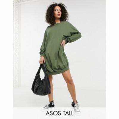 エイソス ASOS Tall レディース ワンピース ワンピース・ドレス Asos Design Tall Oversized Sweat Dress In Khaki カーキ