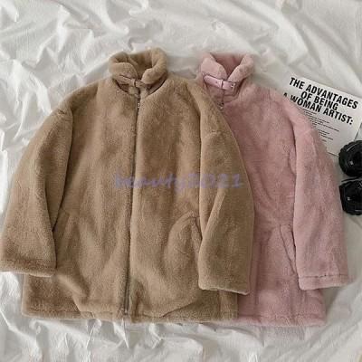 フリースジャケット レディース ジャケット モコモコ アウター 立ち襟 オーバーサイズ 冬 フリースコート ハイネック 可愛い モコモコアウター