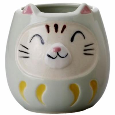 猫 猫柄 丸いボディでかわいい コーヒーカップ 贈り物/ ネコ達磨マグ(緑) /カップ だるま 幸運 開運 商売繁盛 縁起物 招き猫