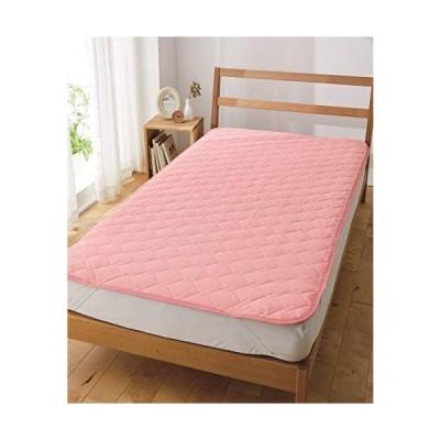 [nissen(ニッセン)] ベッドパッド・敷きバッド シンプル 洗濯機洗いOK 吸汗速乾ドライニット敷きパッド ピンク 1・シングル