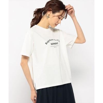 【プチ オンフルール】【接触冷感】配色ロゴTシャツ