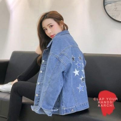 大きいサイズ ジャケット レディース ファッション おおきいサイズ 対応 デニム Gジャン 星 スター バック プリント 刺繍 M L LL 3L 秋冬