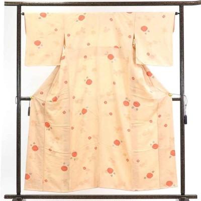 リサイクル着物 小紋 正絹薄ピンクベージュ地花柄袷小紋着物