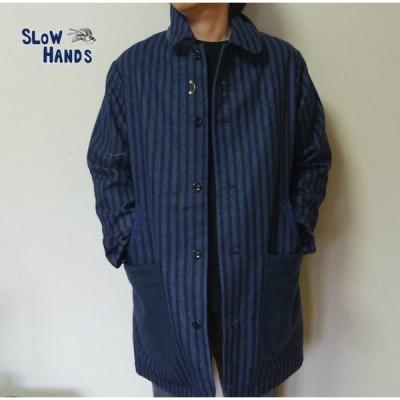 Slow Hands ストライプコート ロングコート ウールジャケット Mサイズ メンズ レディース ユニセックス SJ4 stripe