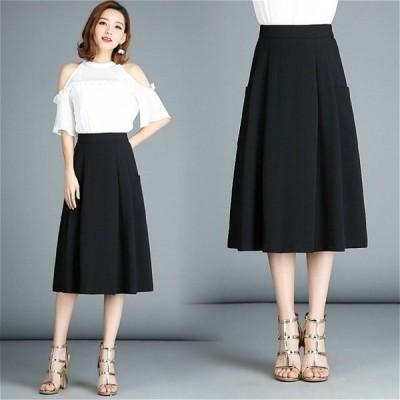 Dresstell レディーススカート Aラインスカート 大きいサイズ ロング丈 ミモレスカート 通勤