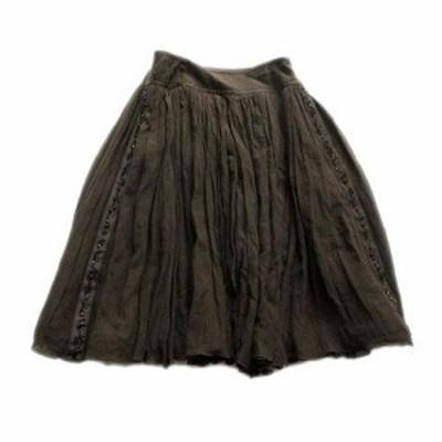 【中古】美品 フォクシーブティック  FOXEY BOUTIQUE シルク混 シフォン スカート ギャザー フレア ビーズ ビジュー