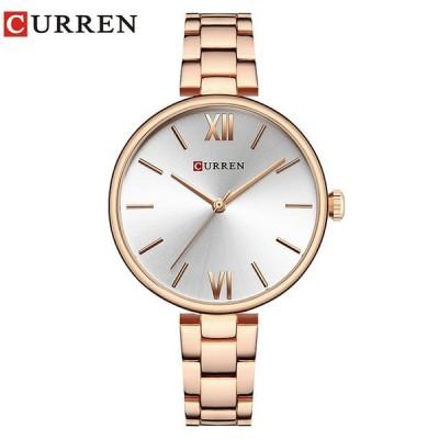 女性腕時計 カレン シンプル 防水 ドレスウォッチ プレゼント ローズシルバー
