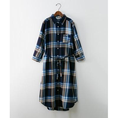 先染めチェックシャツワンピース (ワンピース)Dress