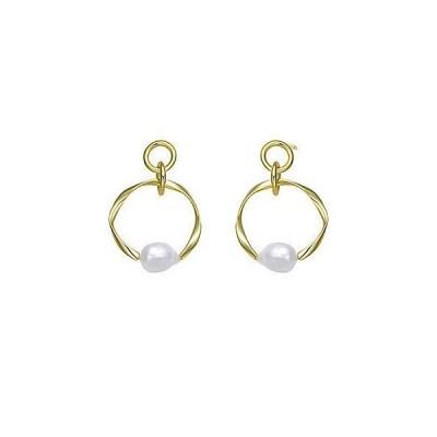 レディース アクセサリー  Genevive 18K Over Silver 13mm Freshwater Pearl Earrings