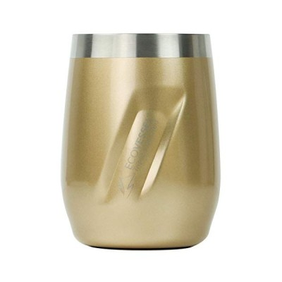 """EcoVessel Insulated Wine Tumbler with Lid ? Trimax """"Port"""" Gold Dust Stainless Steel Coffee Tumbler, Whiskey Tumbler (10oz) Vacuum Insulated Trav"""