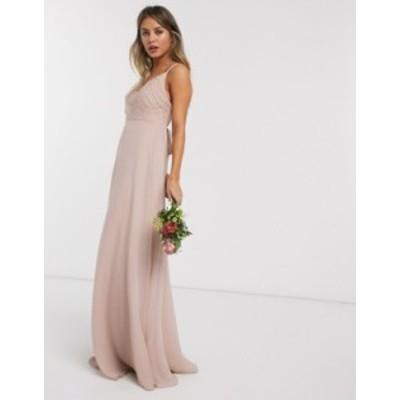 エイソス レディース ワンピース トップス ASOS DESIGN Bridesmaid cami maxi dress with ruched bodice and tie waist Soft blush