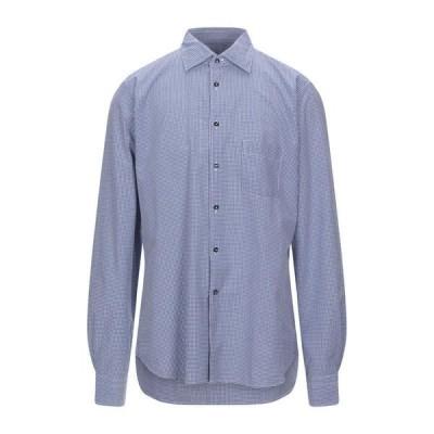 BORSA チェック柄シャツ ファッション  メンズファッション  トップス  シャツ、カジュアルシャツ  長袖 ブルー